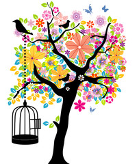 Deurstickers Vogels in kooien Blooming Tree with Cage