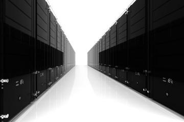 3d server - datacenter, on white