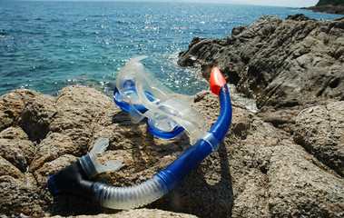 Snorkel and mask on the beach