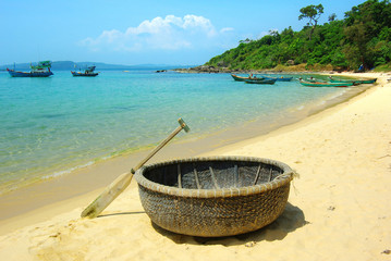 Picturesque sea landscape with tribal boat