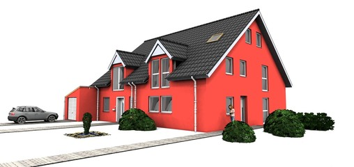 3d rotes Doppelhaus