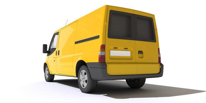 Rear view of yellow van