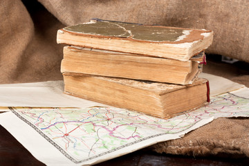 Vintage books and map