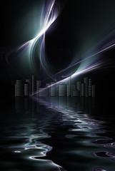 Futuristic skyscraper cityscape metropolis