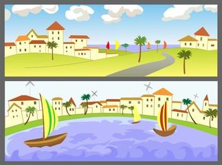Два баннера с морскими пейзажами
