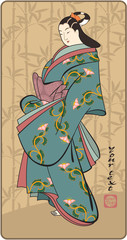 Japanese Geisha - Ttraditional Art Style Illustration