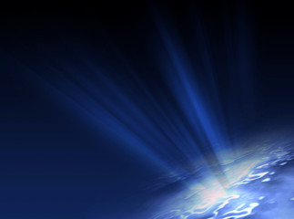 Blue background with Light Rays .