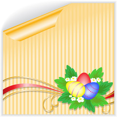 Easter eggs with a bouquet on the yellow striped sticker
