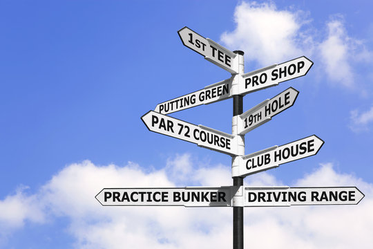 Golf course signpost