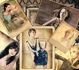 Vintage composition with photo of lovely women