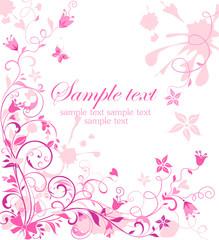 Vintage pink floral card