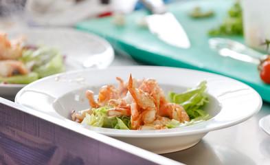 fried shrimps with vegetables