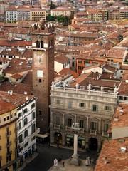Piazza Erbe in Verona, view from Lamberti Tower