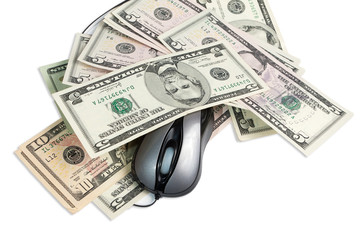 Money and pc mouse isolated on white