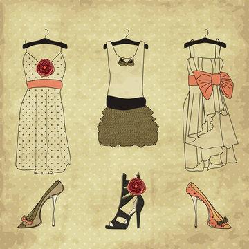 Vintage fashion boutique set, doodles