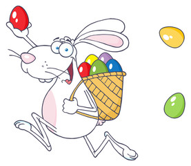 Happy White Easter Rabbit Running With A Basket And Egg