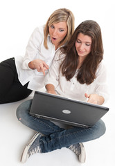 Female friends with laptop