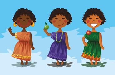 3 африканские девочки в ярких платьях. персонажи