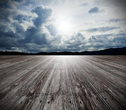 fondo con suelo de madera y cielo