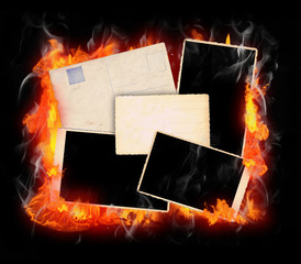 Set of Burning Vintage Photo Frames