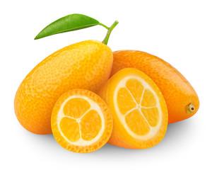 Isolated citrus fruits. Fresh fortunella (kumquats) isolated on white background