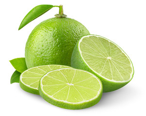 Isolated lime. Two cut limes isolated on white background