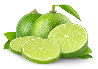 Isolated limes. Fresh lime fruits, whole and slices isolated on white background
