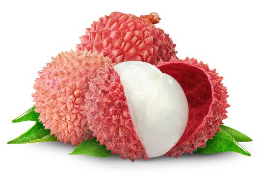 Isolated fruits. Fresh cut lychees isolated on white background