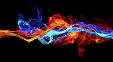 Papiers peints Feu, Flamme Red and blue smoke