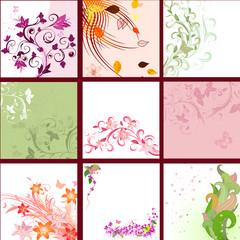 set of floral patterns background