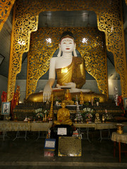 Interior and Buddha image at Wat Jong Kham in Mae Hong Son