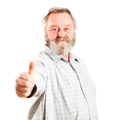 senior with thumb up gesture