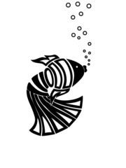 black abstract fish