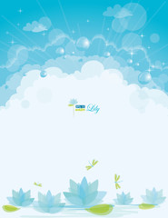 Water lily background, eps-10