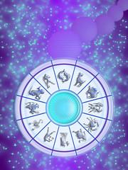 zodiac wheel in the sky