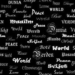 Peace . Seamless wallpaper with the word peace in different lang