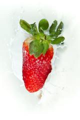 Printed roller blinds Splashing water strawberry splashing into milk
