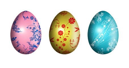 Easter eggs with floral ornament - illustration