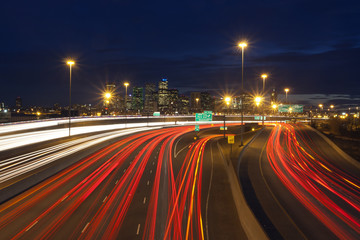 Denver Colorado downtown with traffic at night