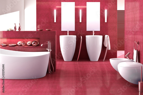 badezimmer in rot photo libre de droits sur la banque d. Black Bedroom Furniture Sets. Home Design Ideas