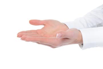 human hand held up.
