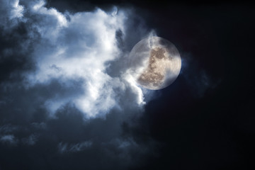Stormy full moon night