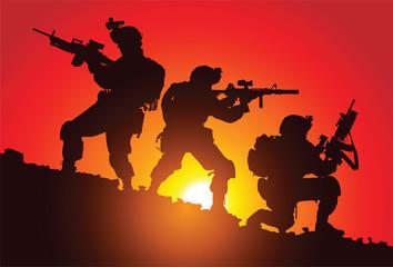 Fotorolgordijn Militair Silhouette of three soldiers on the battlefield