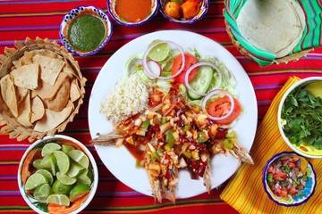 Guajillo chili shrimps Mexican dish chili sauces