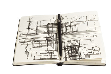 architectural sketchbook with black pencil