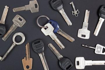 keys collection  on black background