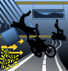 Urban vector composition with city skyline an motorcycle stunt s