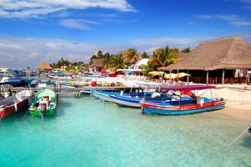 Poster Zanzibar Isla Mujeres island dock port pier colorful Mexico