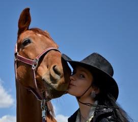 femme baiser cheval