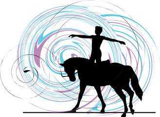 Papier Peint - Abstract horse and rider silhouette